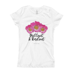 Girls Brilliant & Resilient Prairie Rose T-Shirt in White or Light Pink