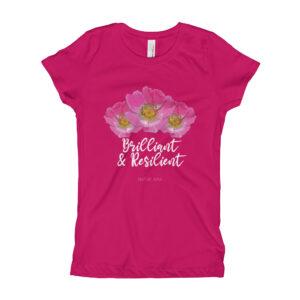 Girls Brilliant & Resilient Prairie Rose T-Shirt in Black or Raspberry
