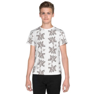B&W Prairie Rose Bouquet All-over Youth T-Shirt